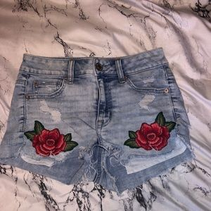 American Eagle Denim Shorts with Rose pockets